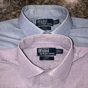 2 Polo Ralph Lauren men's dress shirts.